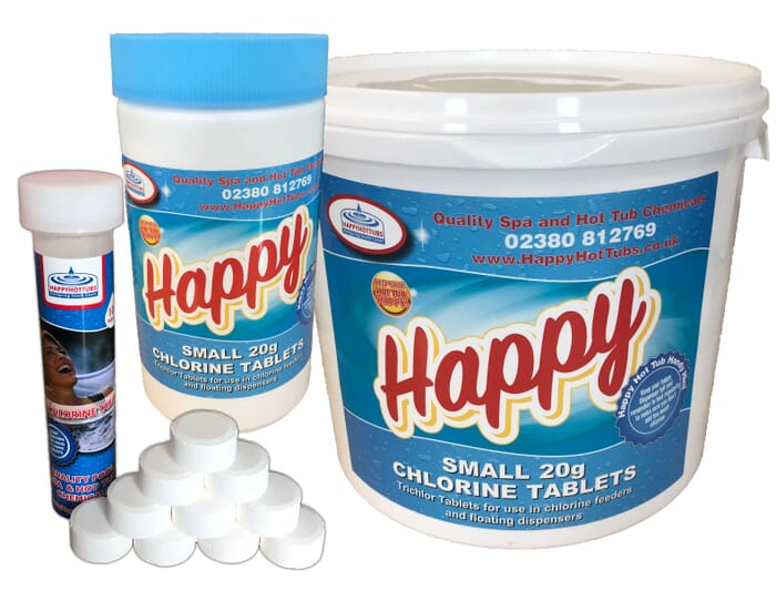 Happy Hot Tubs Small Chlorine Tablets 20g Trichlor Tabs Free Next Day Delivery